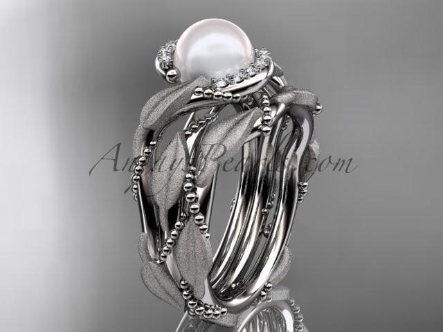 Wedding - 14k white gold diamond pearl vine and leaf engagement set AP65S
