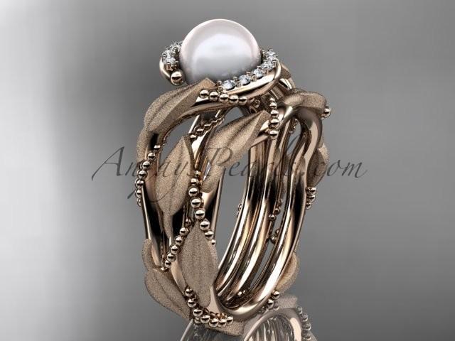 Mariage - 14k rose gold diamond pearl vine and leaf engagement set AP65S