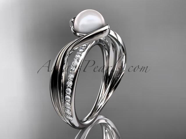 Wedding - platinum diamond pearl vine and leaf engagement ring AP78