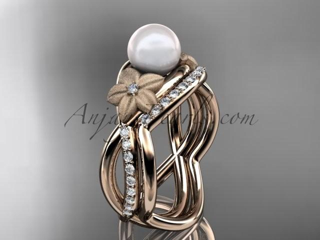 زفاف - 14k rose gold diamond pearl vine and leaf engagement set AP90S