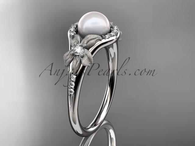 Свадьба - Platinum diamond pearl vine and leaf engagement ring AP91