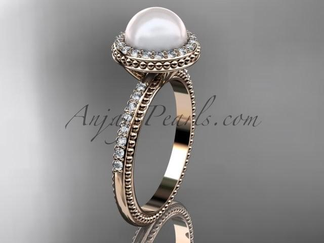 Wedding - 14k rose gold diamond pearl vine and leaf engagement ring AP95