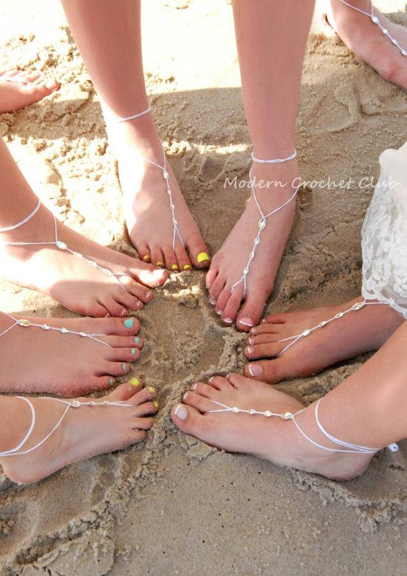 Mariage - Simple Crystal Barefoot Sandals,bridesmaid foot jewelry,beach wedding accessory,beach shoes,barefoot sandles,CRYSTALLIZED-Swarovski Elements