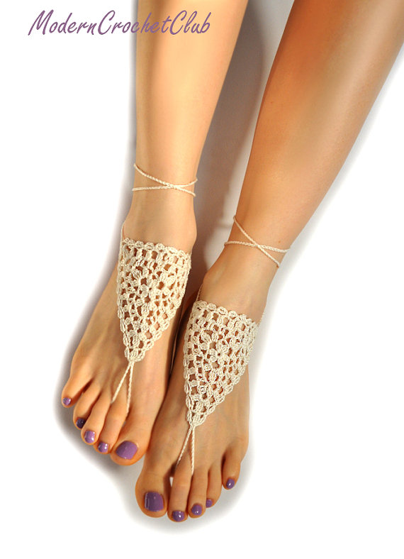 Wedding - Wedding Barefoot Sandals, IVORY bridal foot jewelry, nude shoes, beach wedding, anklet, joga class, bellydance, barefoot sandles,lace shoes