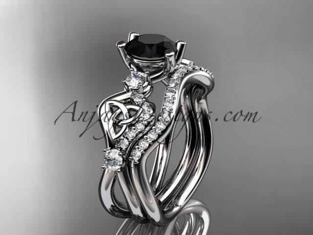 Wedding - platinum celtic trinity knot engagement set, wedding ring with a Black Diamond center stone CT768S
