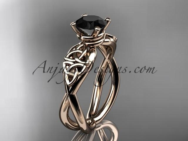 Wedding - 14kt rose gold celtic trinity knot engagement ring, wedding ring with a Black Diamond center stone CT770