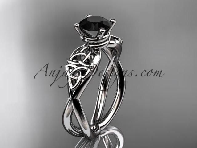 Boda - platinum celtic trinity knot engagement ring, wedding ring with a Black Diamond center stone CT770