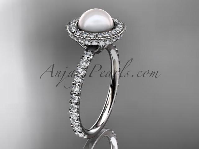 Wedding - 14k white gold diamond pearl vine and leaf engagement ring AP106