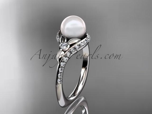 Свадьба - 14k white gold diamond pearl vine and leaf engagement ring AP112