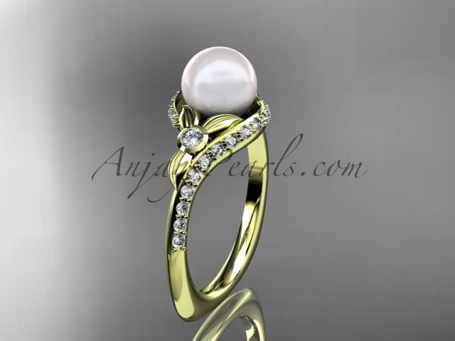 زفاف - 14k yellow gold diamond pearl vine and leaf engagement ring AP112