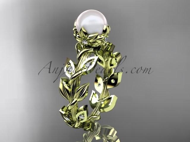زفاف - 14k yellow gold diamond pearl vine and leaf engagement ring AP124