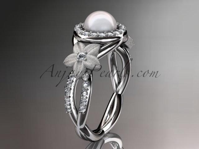 Wedding - Platinum diamond floral wedding ring, engagement ring AP127