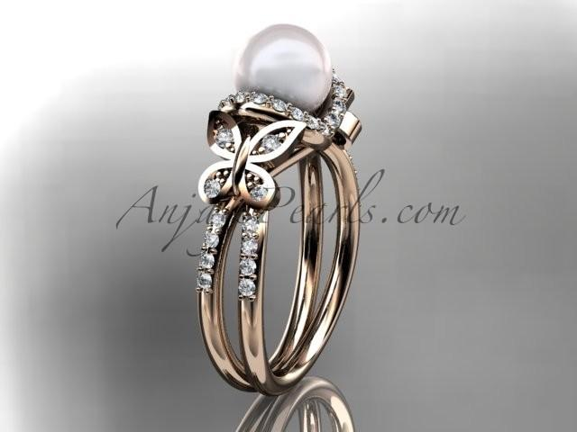 Mariage - 14kt rose gold diamond pearl unique engagement ring, butterfly wedding ring AP141