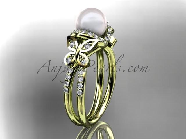 Wedding - 14kt yellow gold diamond pearl unique engagement ring, butterfly wedding ring AP141