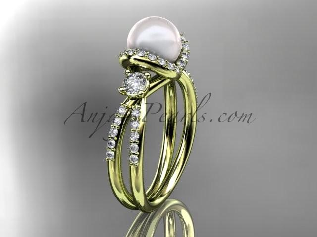 Wedding - 14kt yellow gold diamond pearl unique engagement ring, wedding ring AP146