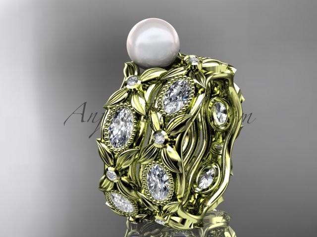 Свадьба - 14kt yellow gold diamond pearl unique engagement ring, wedding ring AP152S