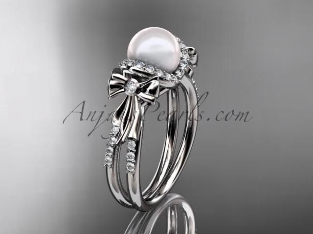 Hochzeit - Platinum diamond pearl wedding ring, engagement ring AP155