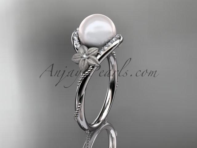Mariage - Platinum diamond leaf and vine, floral pearl wedding ring, engagement ring AP166