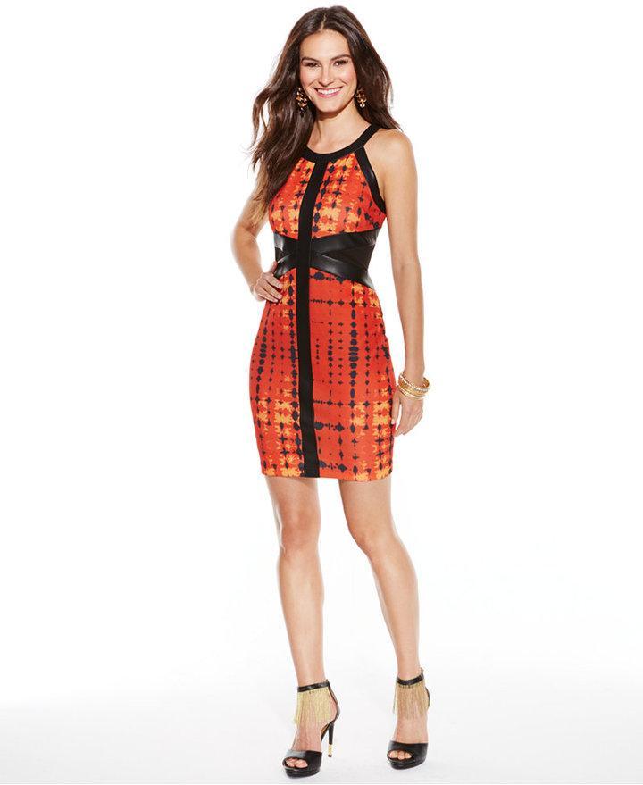 5a83e72ff8d Thalia Sodi Faux-Leather-Trim Geo-Print Sheath Dress  2331907 - Weddbook