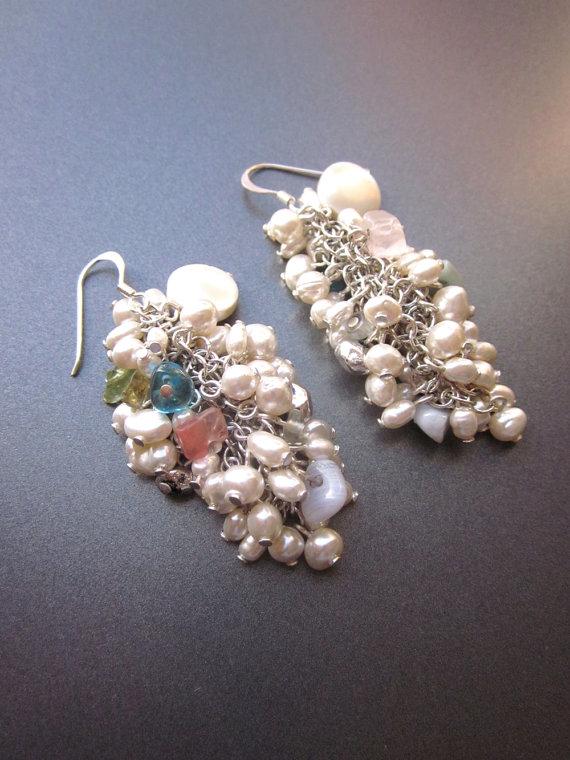 Mariage - Vintage Pearl Cluster Dangle Earrings Wedding Jewelry Formal Earrings Fresh Water Pearls