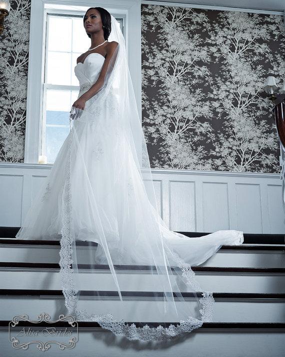 Mariage - Wedding Veil - Cathedral Length with Vintage Beaded Alencon Lace At Bottom Edge - White, Diamond White, Light Ivory, Ivory