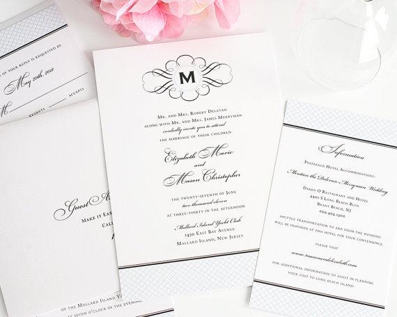 Wedding - Elegance Monogram - Vintage Wedding Invitation - Baby Blue, Classic, Antique, Formal Wedding Invitations - Sample Set