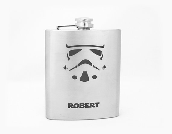 Wedding - Storm Trooper personalized flask for groomsmen Star wars Gift for him Best man gift Groomsmen flask Mens birthday gift Engraved flask