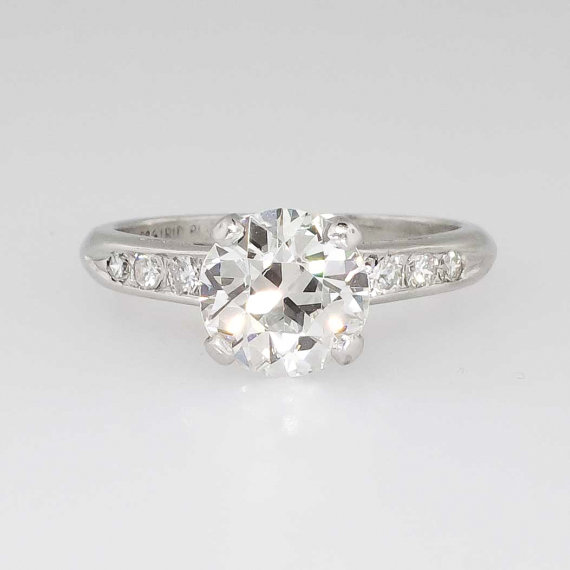 Mariage - Amazing 1.92ct t.w. Seven Stone 1940's Retro Diamond Engagement Ring Platinum