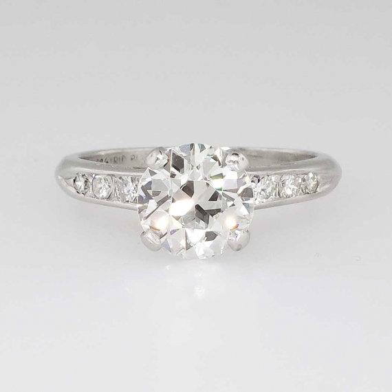 Mariage - Amazing 1.92ct t.w. Seven Stone 1940's Retro Diamond Engagement Ring Platinum