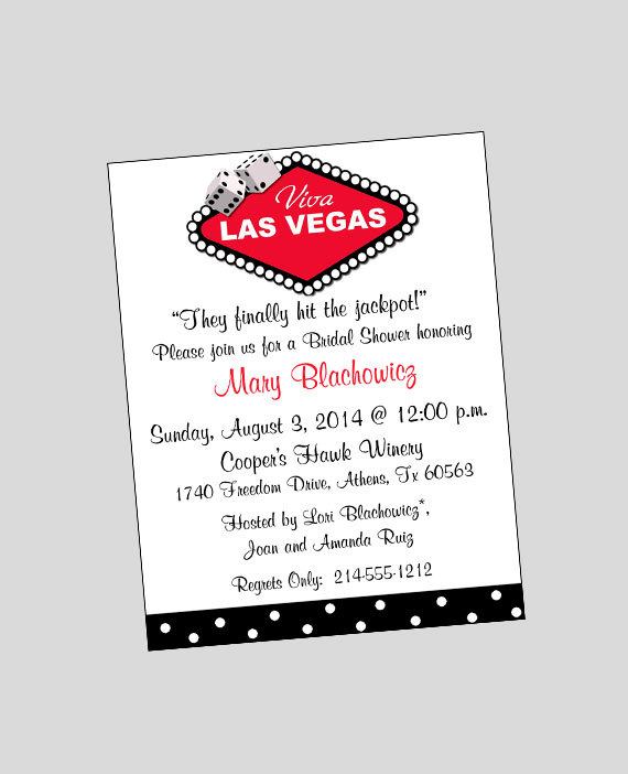 Las Vegas Invitation Printable ~ Bridal Shower Invitation ~ You Print Or WE  CAN!