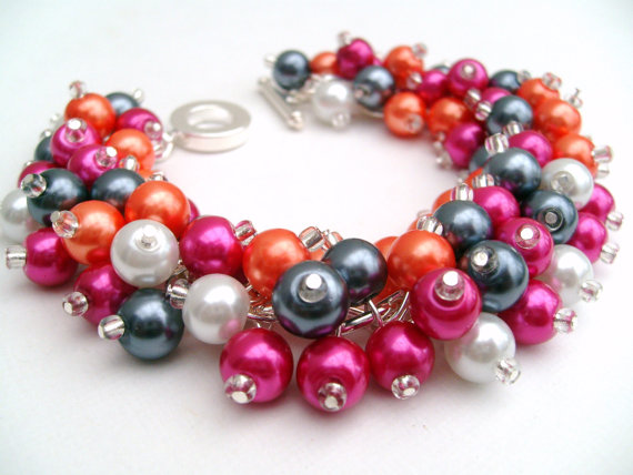Mariage - Hot Pink and Orange Pearl Beaded Bracelet, Wedding Jewelry, Bridesmaid Bracelet, Cluster Bracelet, Pearl Bracelet, Chunky Jewelry, Summer