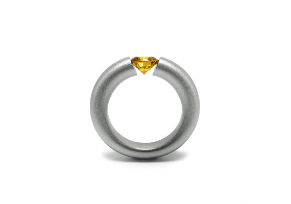 Mariage - Yellow Sapphire Engagement Ring Tension Set Steel