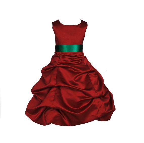Hochzeit - Apple Red Flower Girl Dress tie sash pageant wedding bridal recital children bridesmaid toddler childs 37 sash size 2 4 6 8 10 12 14 16 #806
