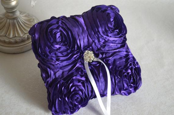 Hochzeit - Purple ring pillow- rosette, satin, custom ring holder, ring cushion