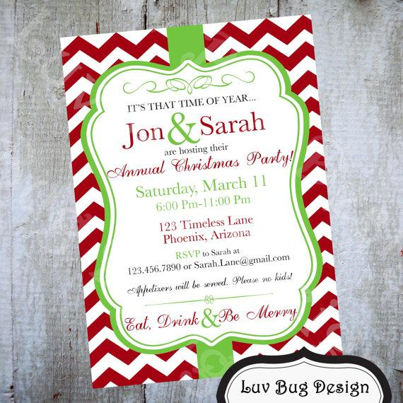 زفاف - Christmas Chevron Printable Party Invite- Printable party invitation by Luv Bug Design