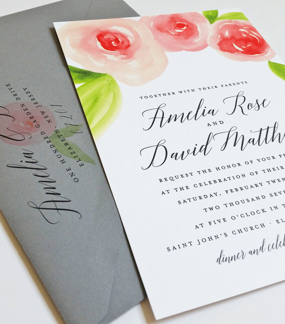 زفاف - NEW Amelia Watercolor Rose Floral Wedding Invitation Sample - Beautiful Script, Coral and Pink Watercolour Flowers