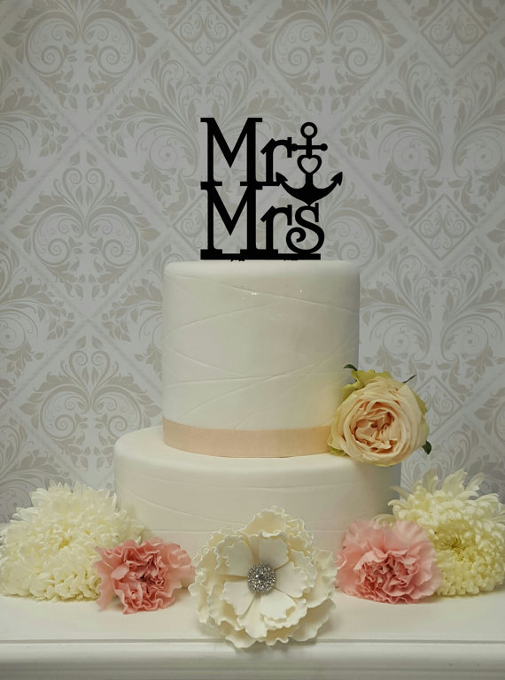 Wedding - Mr and Mrs Cake Anchor Heart Beach Nautical Themed Topper Wedding Cake Topper Mr and Mrs Mr and Mr Mrs and Mrs