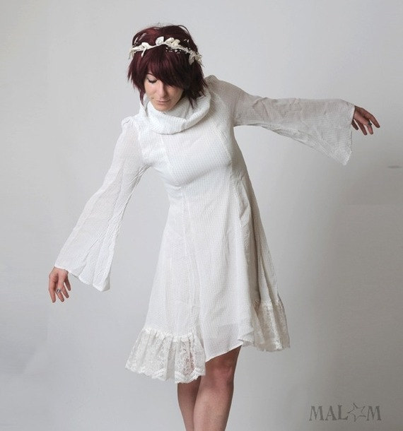 White Voile And Lace Dress White Womens Fairy Dress Vintage ...