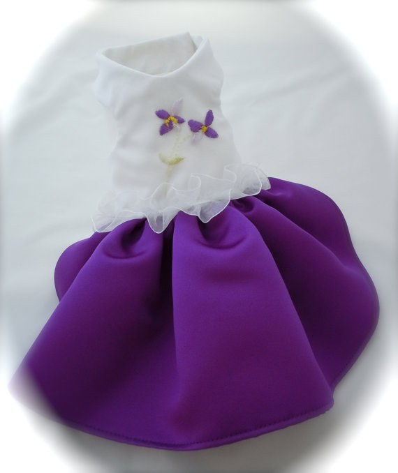 زفاف - Violet  Embroidered Organza and Satin Dress for Small Dogs - Ready Made - Size XS