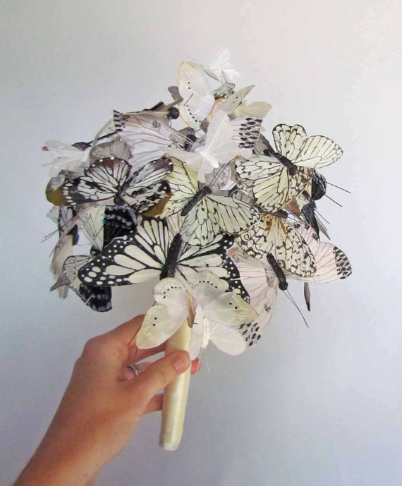 white ivory butterfly wedding bouquet
