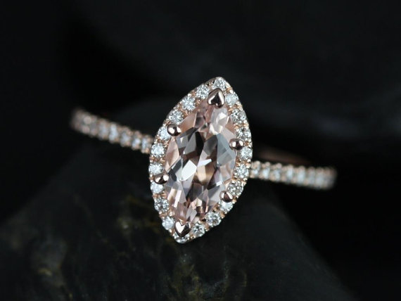 Sasha 10x5mm 14kt Rose Gold Marquise Morganite And Diamond