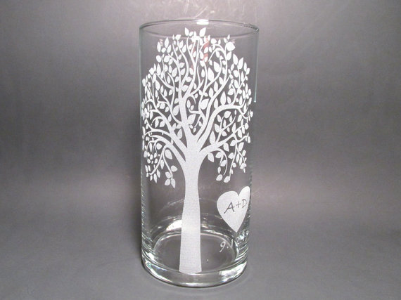 Personalized Unity Candle Etched Glass Vase Floating Candle