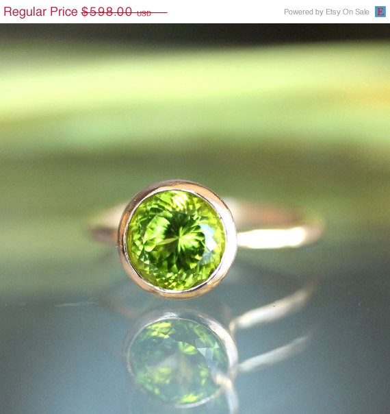 Mariage - Summer Sales - Peridot 14K Rose Gold Engagement Ring, Gemstone Ring, Stacking Ring, Portuguese Cut - Ship In The Next 9 Days