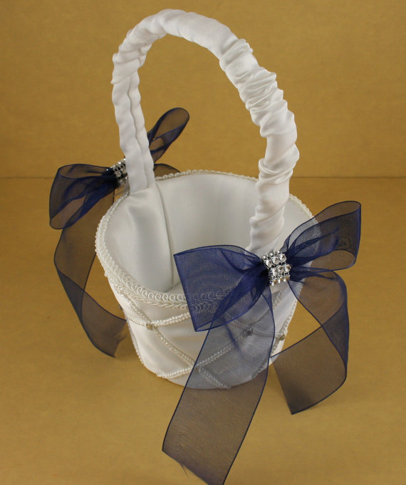 Mariage - Wedding Accessories Available in WHITE or IVORY Satin base NAVY Blue organza Ribbon Choose Basket, Pillow, Knife set, Champagne Glass set