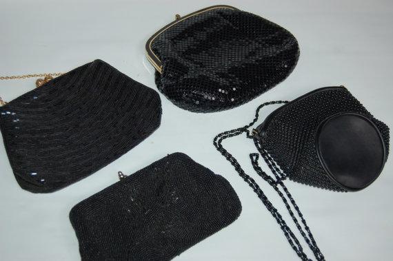 Mariage - vintage Beaded bridesmaid, Wedding, Prom purses in black. Bridesmaid purses. Black beaded Holiday purse or clutch