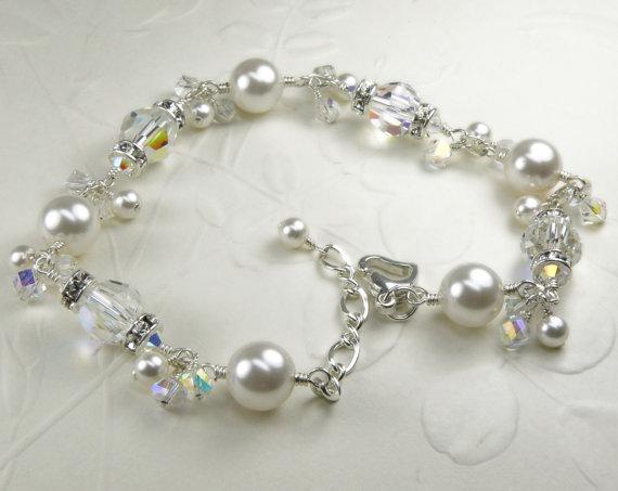 Pearl Crystal And Rhinestone Bracelet Clear White Swarovski