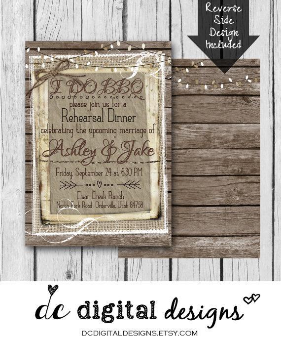 Hochzeit - I DO BBQ, Rehearsal Dinner, Rustic, Wood, White, Couple Shower - Wedding Invitation / Bridal / Baby Shower / Birthday - Digital & Printed