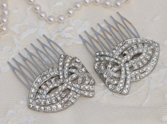 زفاف - 1920s Art Deco PAIR OOAK Bridal Hair Combs,Silver Pave Paved Rhinestone Hair Comb,Something Old,Flapper,Large,Two Combs,Vintage Wedding