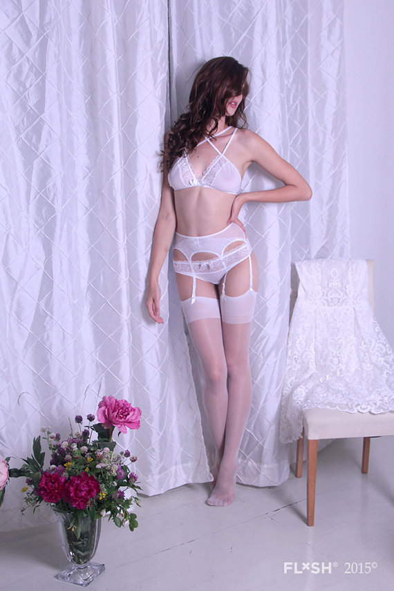 Свадьба - Bridal White Tulle Bralette With Decorative Straps and Lace