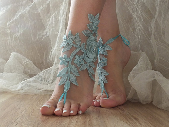Mariage - Blue Barefoot Sandals, pearl lace sandals, Nude shoes, Gothic, something blue ,Wedding, Victorian Lace, Sexy, Yoga, Anklet , Belly Dance